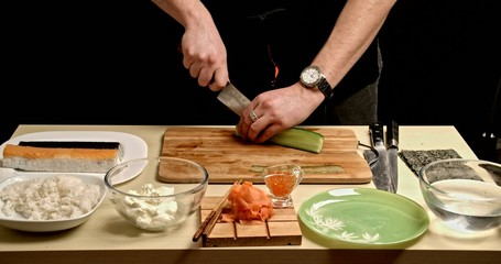 Cooking Rolls - cuting cucumbers