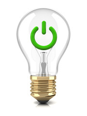 Light bulb with power sign