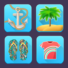 Colorful collection of summer holidays, vacation, travel icons