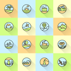 Travel and summer holiday flat icons collection