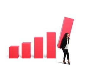 Businesswoman raise the profit