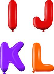 Alphabet letters IJKL colors