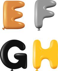 Alphabet letters E F G H