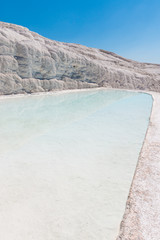 Natural travertine pools and terraces at Pamukkale ,Turkey