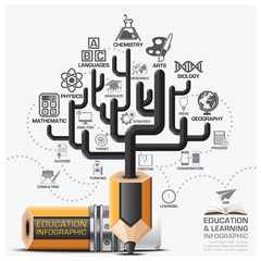 Education And Learning Step Infographic With Tree Pencil Lead Su
