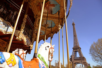 View of the carousel and the Eiffel Tower