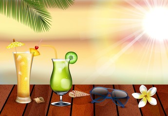 summer holiday with fresh drinks