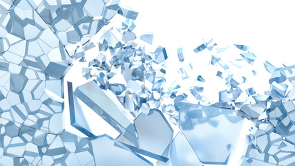 Abstract Illustration of Broken Blue Glass isolated on white bac