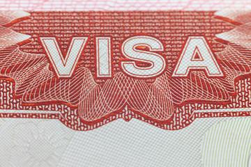 Foreign Visa in a passport  page  -  enjoy travel background