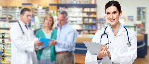 Medical pharmacist woman. - 81901923