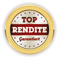 Roter Top Rendite Siegel mit goldenem Rand
