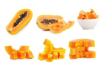 whole papaya fruits on white background