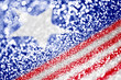 Abstract Glitter American Flag Blurred Background