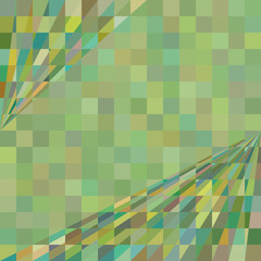 Green geometric background. Squares and perspective corner lines