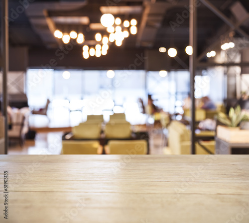 Table top counter Bar with Blurred Cafe Restaurant background - 81903135