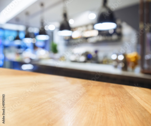 Table top with Blurred Kitchen background - 81903163