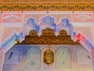 Moroccan arabesque ceiling carvings