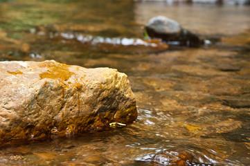 close up stone in stream