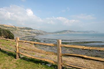 Fence above seafront at Lyme Regis, Dorset