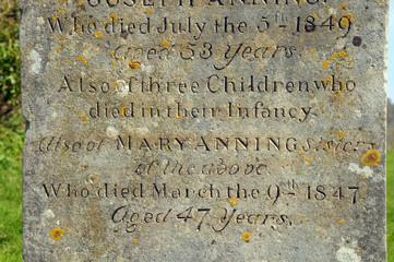 Gravestone of Mary Anning in Lyme Regis churchyard, Dorset