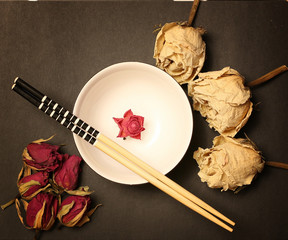 background Japanese food bowl sticks and roses