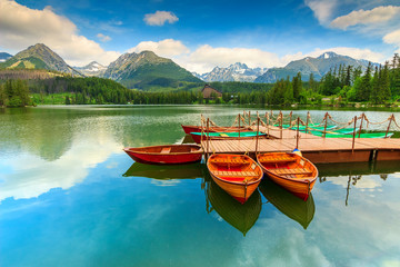 Wooden boats on the mountain lake,Strbske Pleso,Slovakia,Europe