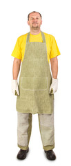 Worker in apron.