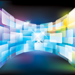 Abstract multimedia virtual screen wall.