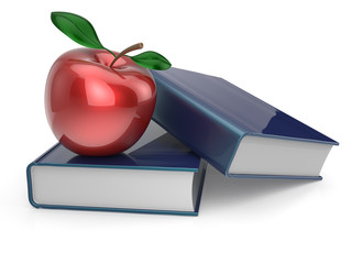 Books red apple education studying textbook reading concept