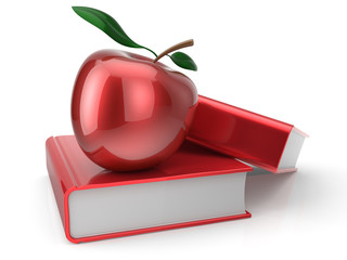 Books with apple red textbook school education studying icon