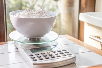 flour on a weighing scale