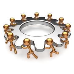 Partnership teamwork process business man turning gear