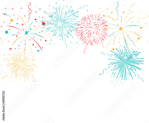 Colorful fireworks background poster