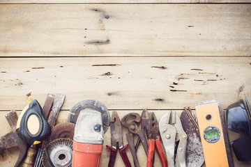 old equipment tools group set on grain wood