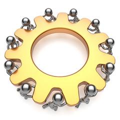 Teamwork process business workforce community turning gear