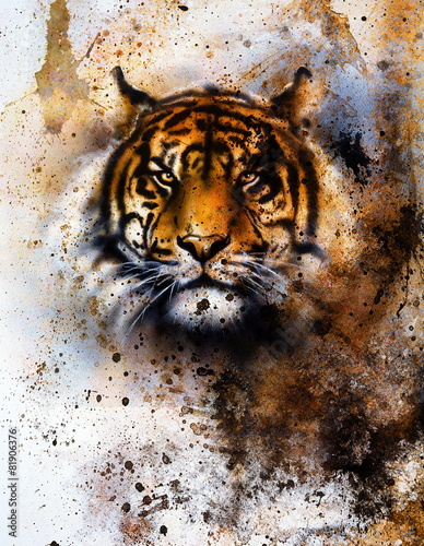 tiger collage on color abstract  background,  rust structure - 81906376