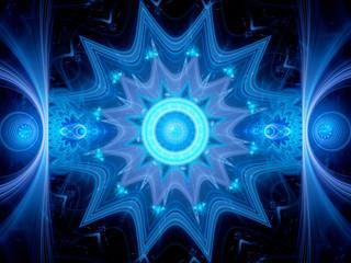 Magical blue glowing mandala in space