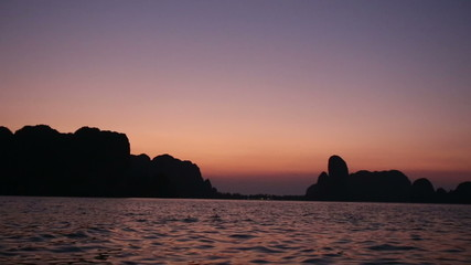 panorama of mountains from sea at early sunrise
