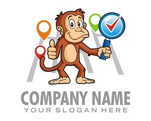 monkey map logo image vector