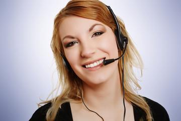 lachende Frau mit Headset