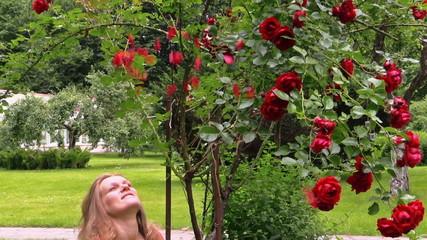 Big rose flower bush and pregnant woman throw rose petals