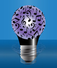 Light bulb with music notes