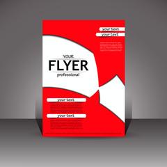 Red flyer. Designer cover. Vector.