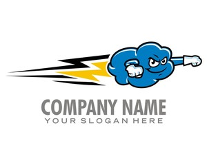 cloud speed lightning logo image vector