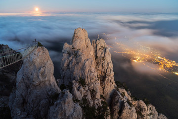 Moonrise over the Ay-Petri mountain