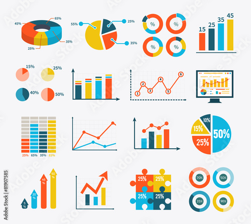 Fototapeta Infographic Set Graph and Charts, Diagrams