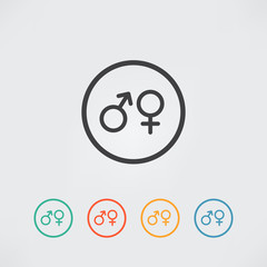 Male and female sex symbol - vector icon