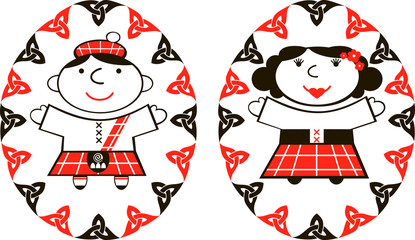 vector image Scottish man and woman in ethnic costume