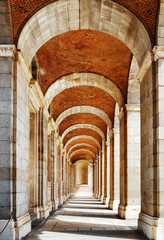 The passage with arches and columns to the Royal Palace of Madri