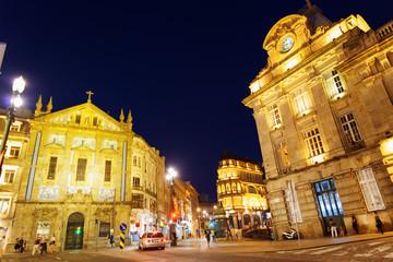 The crossroads near the Sao Bento Railway Station of Porto city